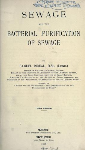Download Sewage and the bacterial purification of sewage.