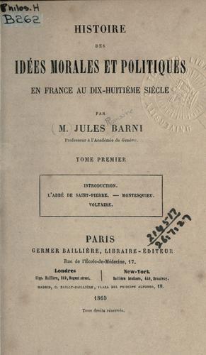 Download Histoire des idées morales et politiques en France au dix-huitième siècle.