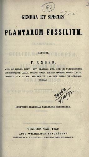 Download Genera et species plantarum fossilium.