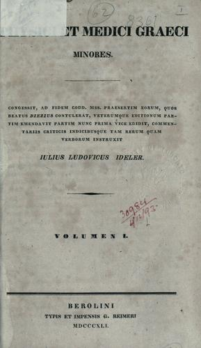 Download Physici et medici Graeci minores.