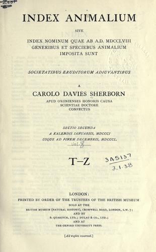 Index animalium
