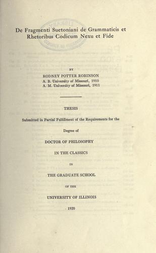 Download De fragmenti Suetoniani De grammaticis et rhetoribus codicum nexu et fide.