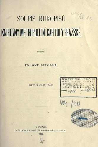 Download Soupis rukopisu Knihovny Metropolitní kapitoly praské.