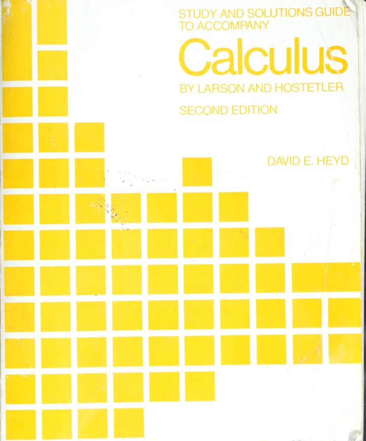 Study and solutions guide to accompany Calculus by David E Heyd