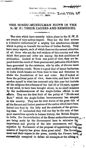 An Appeal to the English Public on Behalf of the Hindus of the N. W.-P. and Oudh by Bishan Narayan Dar