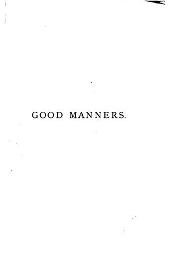 Good Manners by Eliza M Lavin