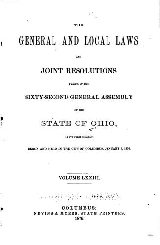 Acts of the State of Ohio by Ohio, Ohio. General Assembly, Ohio Secretary of State