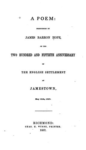 A Poem by James Barron Hope