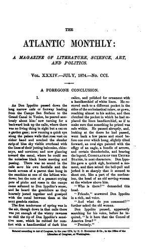 the atlantic monthly volume xxxiv by H.O. HOUGHTON AND COMPANY