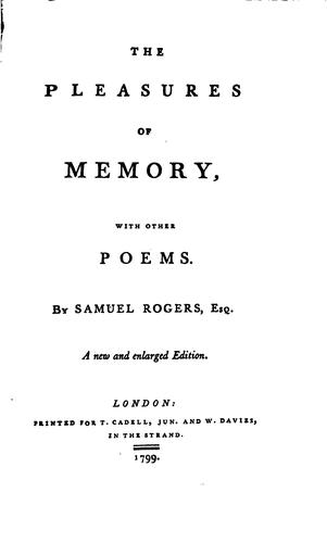 The Pleasures of Memory: With Other Poems by Samuel Rogers