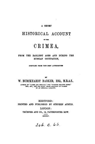 A short historical account of the Crimea by William Burckhardt Barker