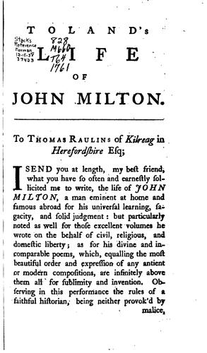 The Life of John Milton by John Toland