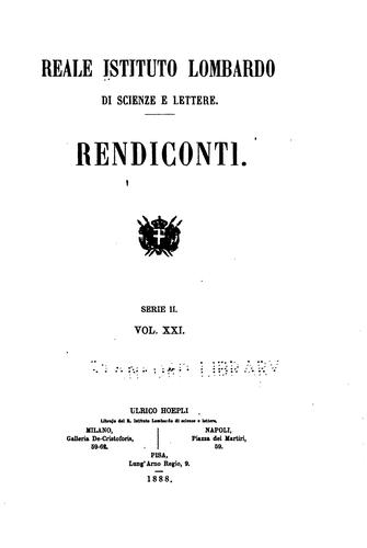 Rendiconti by Istituto lombardo di scienze e lettere