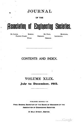 Journal of the Association of Engineering Societies by Association of Engineering Societies (U .S.)