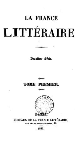 la france litteraire by tome premier