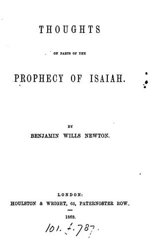 Thoughts on parts of the prophecy of Isaiah by Benjamin Wills Newton