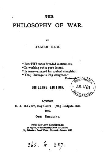 the philosophy of war by james ram