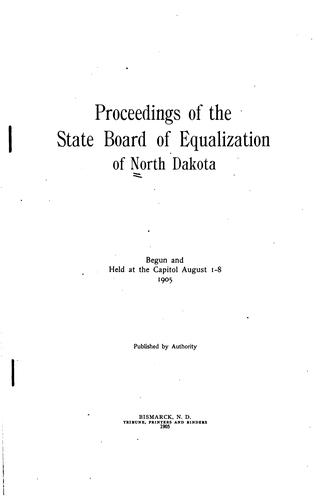 Proceedings of the State Board of Equalization of North Dakota by North Dakota State Board of Equalization