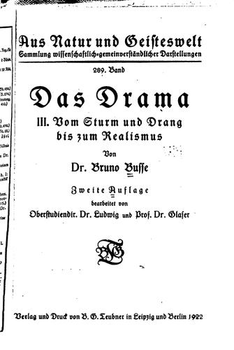 Das Drama by Bruno Busse