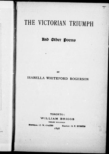 The victorian triumph and other poems by Isabella Whiteford Rogerson