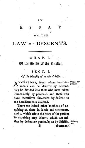 An Essay Towards the Further Elucidation of the Law of Descents by Charles Watkins