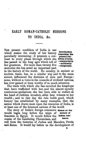 Early Roman-catholic missions to India by James Forbes B . Tinling