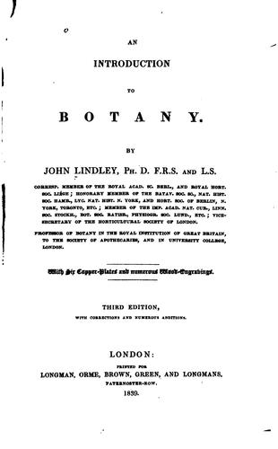 An Introduction to Botany by John ( Lindley