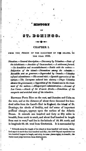 History of the Island of St. Domingo: From Its First Discovery by Columbus to the Present Period by James Barskett