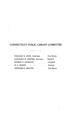 Connecticut Public Library Document by Connecticut Public Library Committee