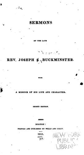 Sermons by the Late Rev. J.S. Buckminster by Joseph Stevens Buckminster