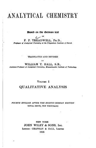 Analytical Chemistry by Frederick Pearson Treadwell