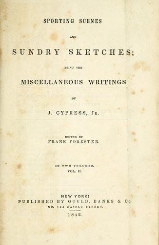 Sporting scenes and sundry sketches by J. Cypress