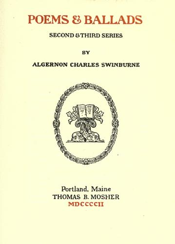 Poems & ballads by Swinburne, Algernon Charles