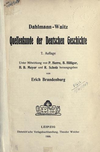 Quellenkunde der deutschen Geschichte.