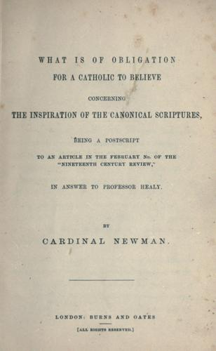 What is of obligation for a Catholic to believe concerning the inspiration of the canonical Scriptures