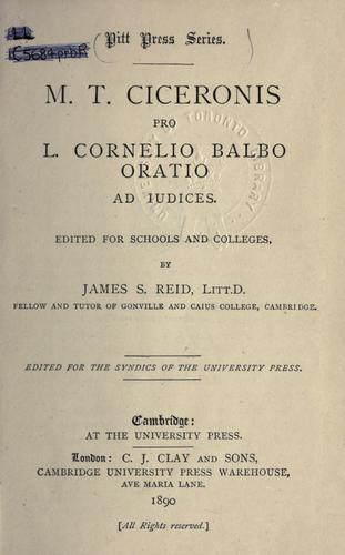 Pro L. Cornelio Balbo oratio ad iudices.
