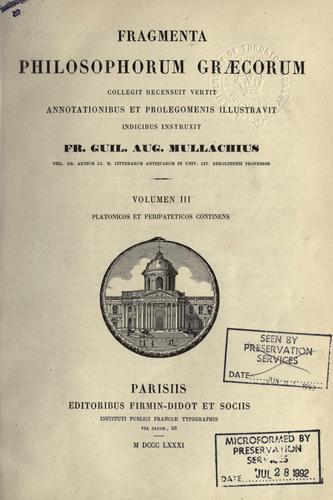 Fragmenta philosophorum graecorum.