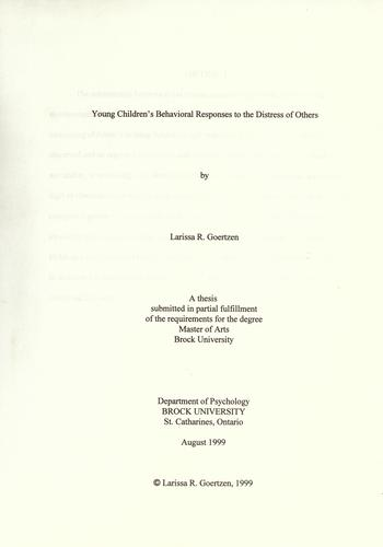 Young children's behavioral responses to the distress of others by Larissa R. Goertzen